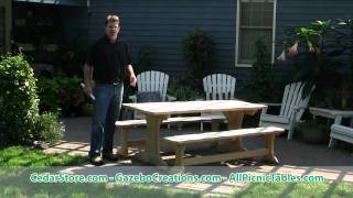 Treated Pine Trestle Picnic Table From Cedarstore.com