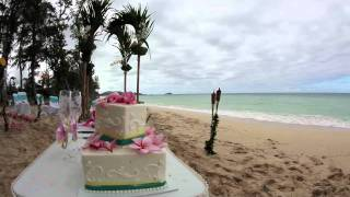 Hawaii Wedding Cake With Vanilla Cream Frostion On The Beach