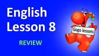English Lesson 8 - Review. Learn animals names, sing family song. English with Gogo.
