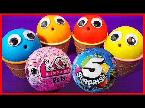 Play Doh Ice Cream Cups Learn Colors ,LOL Surprise Dolls, Zuru 5,Shopkins, Peppa Pig Eggs
