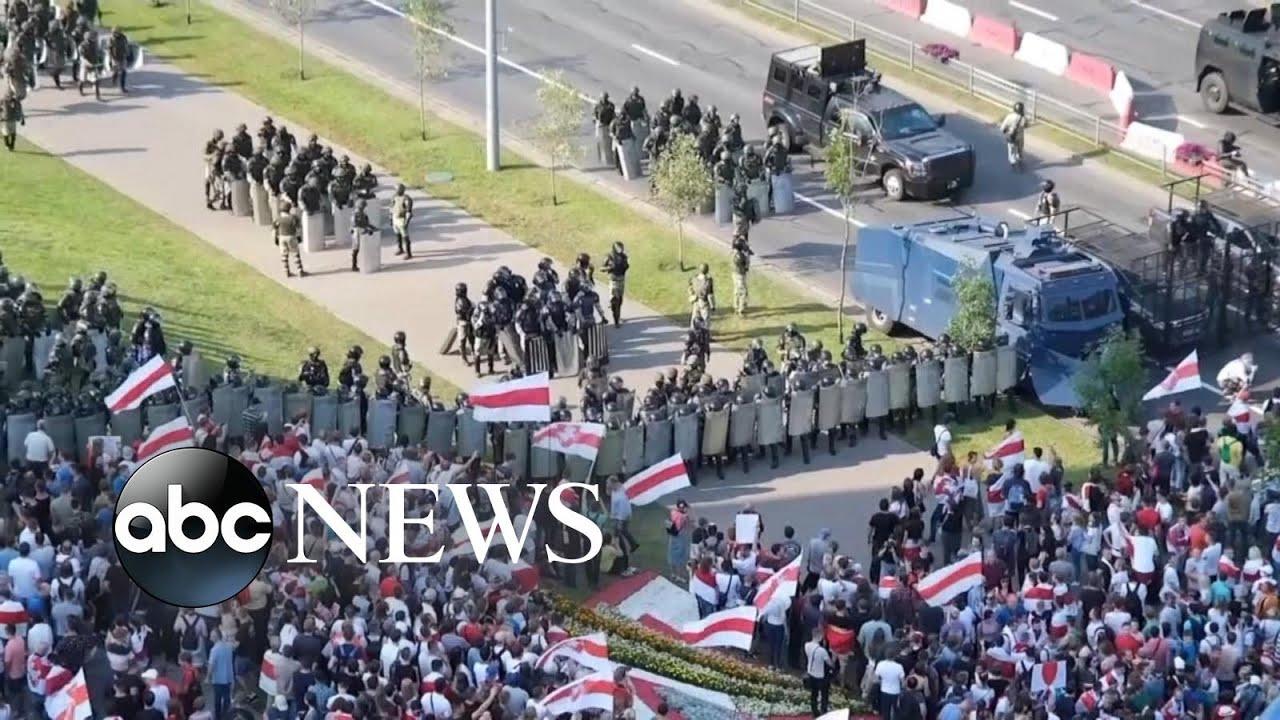 Download Huge protests flood Belarus' capital again, defying crackdown