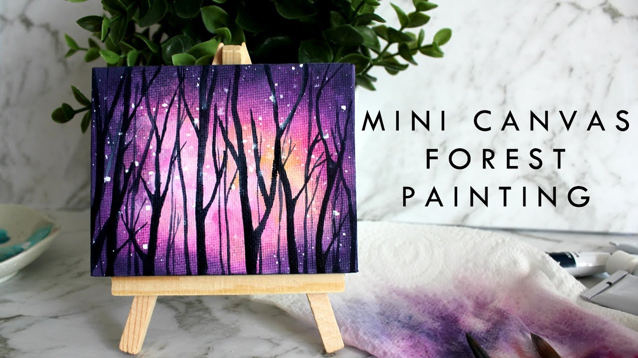Small canvas painting pink galaxy forest artbybee7