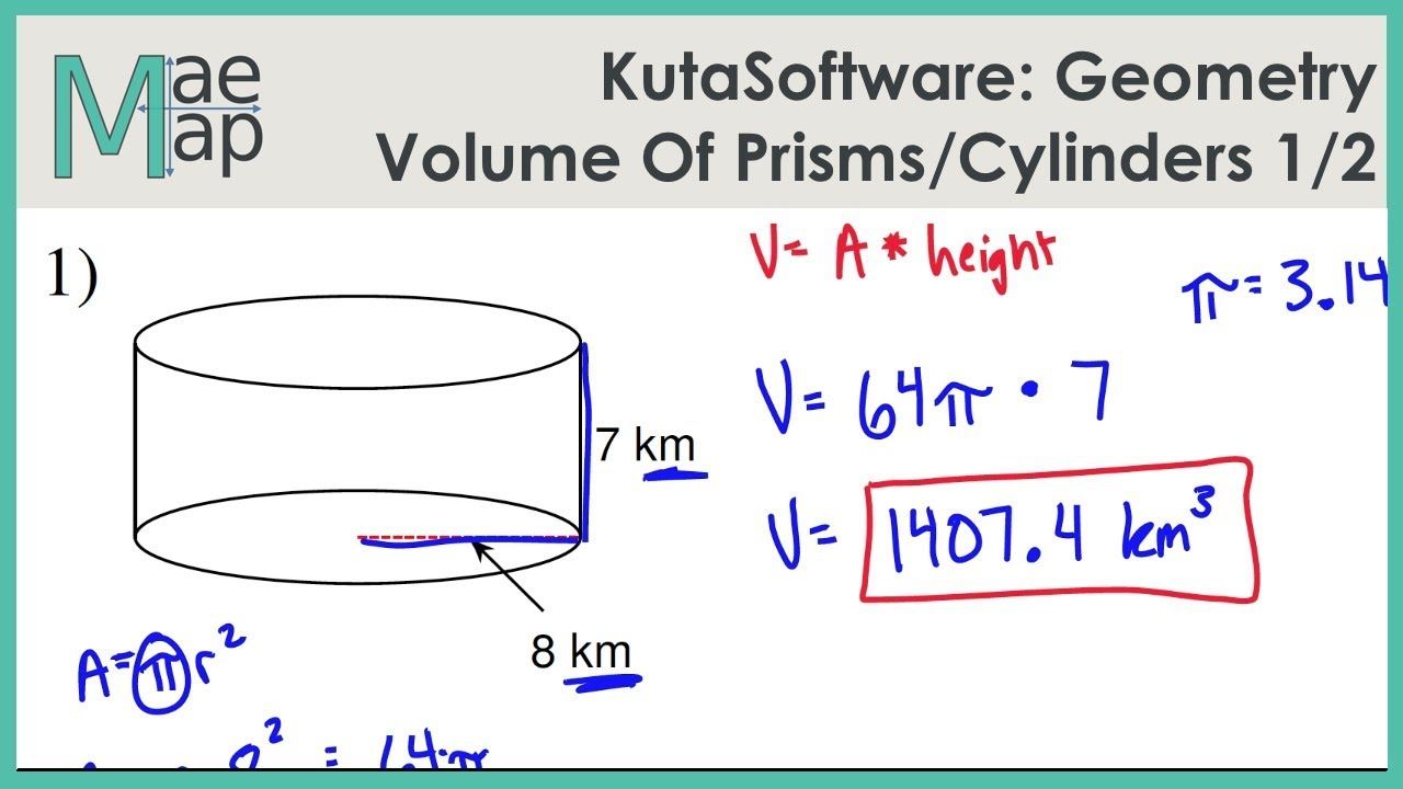 Worksheets Volume Of Prisms And Cylinders Worksheet kutasoftware geometry volume of prisms and cylinders part 1 youtube 1
