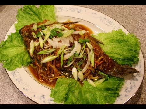 Pan fried tilapia with ginger and soy sauce glaze