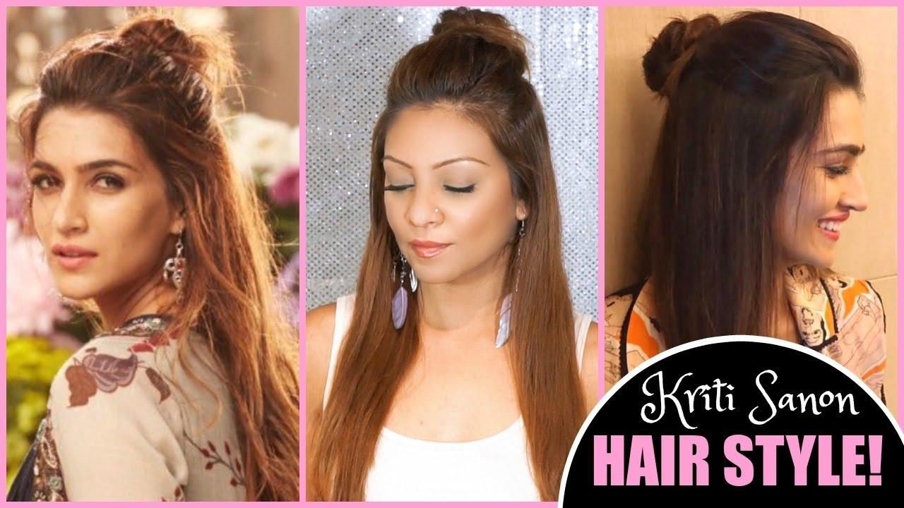 Quick Easy Everyday Half Up Half Down Bun Hairstyle Kriti Sanon