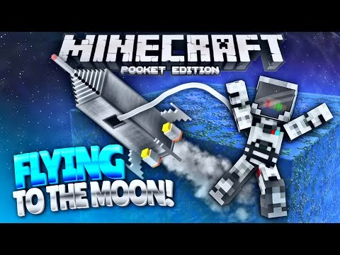 On the MOON in Minecraft Pocket Edition - Fly to SPACE using Command Blocks! (Minecraft PE 1.1.3+)
