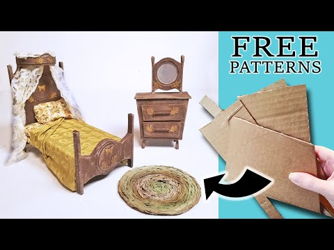diy-dollhouse-bedroom-furniture-made-from-cardboard:-bed-and-vanity
