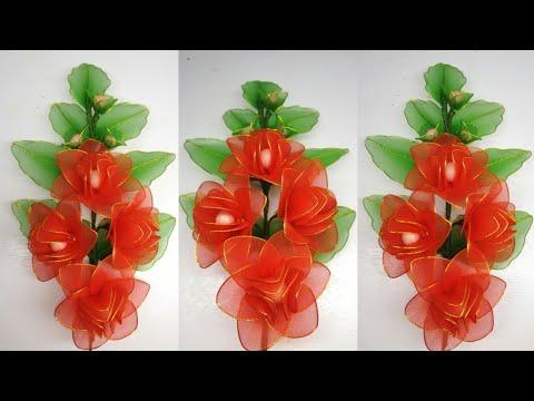104 Ide Kreatif Cara Membuat Bunga Hias Dari Kain Stoking Nylon Stocking Flower Youtube