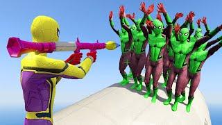 GTA 5 Water Ragdolls YELLOW SPIDERMAN VS GREEN SPIDERMAN GTA V Euphoria Physics and JumpFails