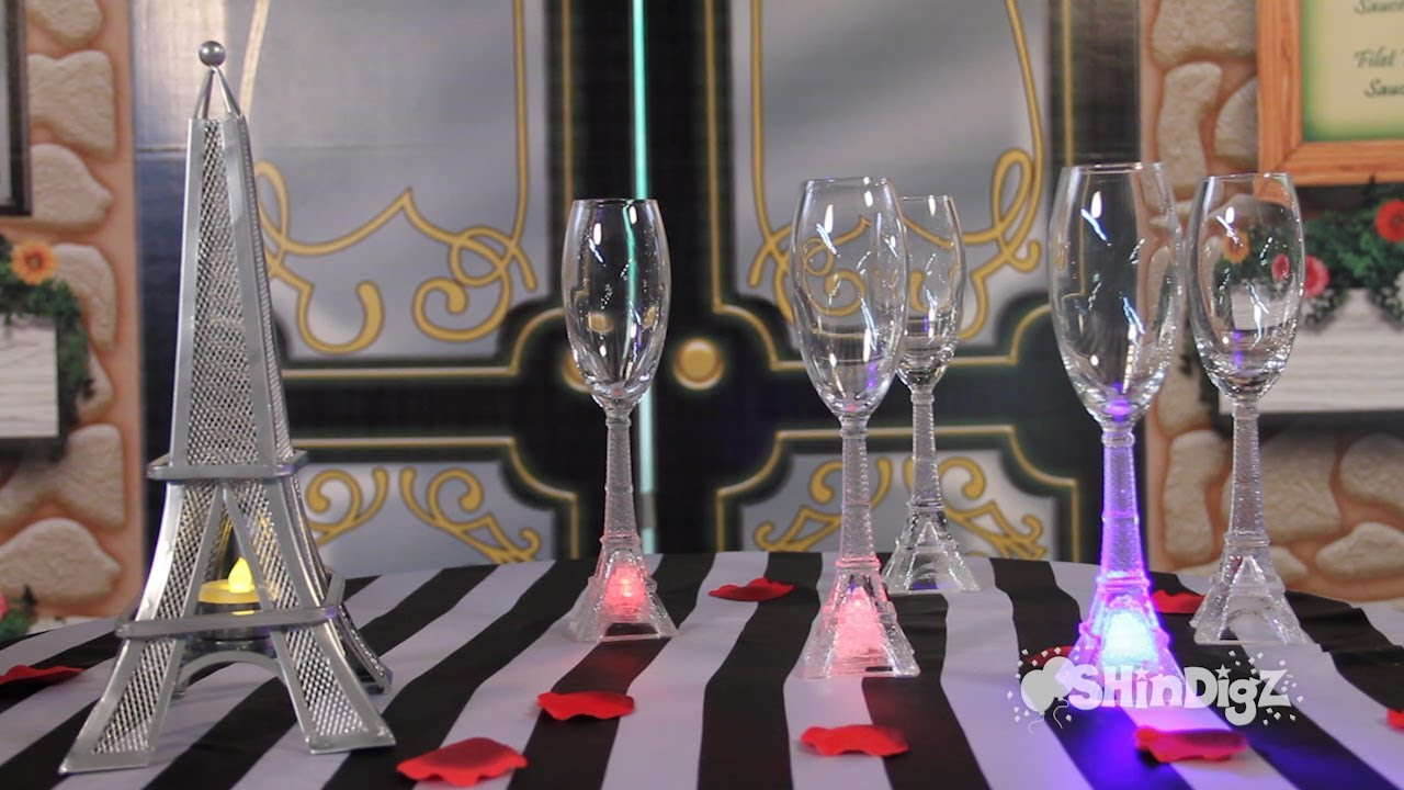 Party supplies glassware led eiffel tower flutes
