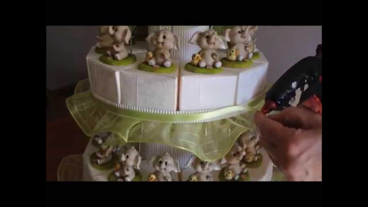 Eccezionale Come creare una torta bomboniera con elefantini - YouTube JB37
