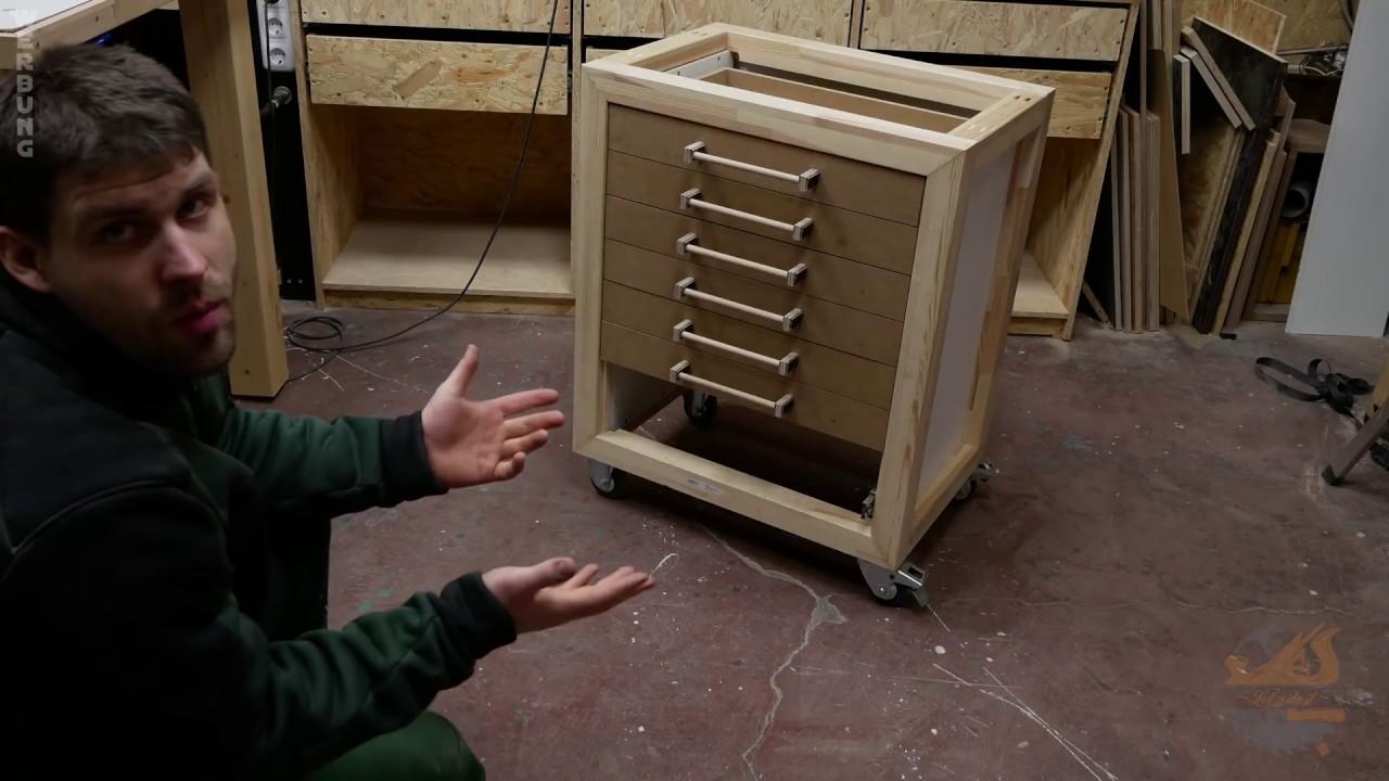 stabiler werkstattwagen werkzeugwagen ganz einfach selber bauen youtube. Black Bedroom Furniture Sets. Home Design Ideas