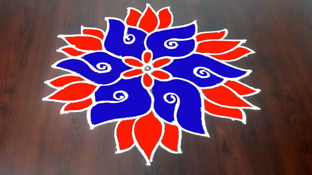 Very Simple Shankam Muggulu || Simple Shankh Rangoli 9 x 5  With Lotus  || Fashion World