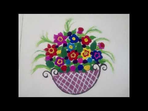 Colourful Flower Basket Rangoli design ...