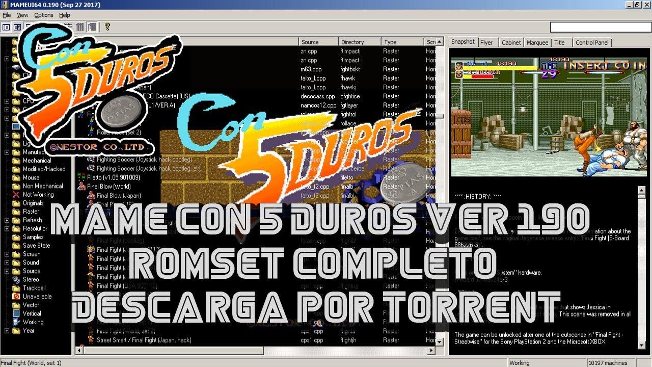 MAME CON 5 DUROS Ver 190 + ROMSET COMPLETO (Descarga por Torrent)