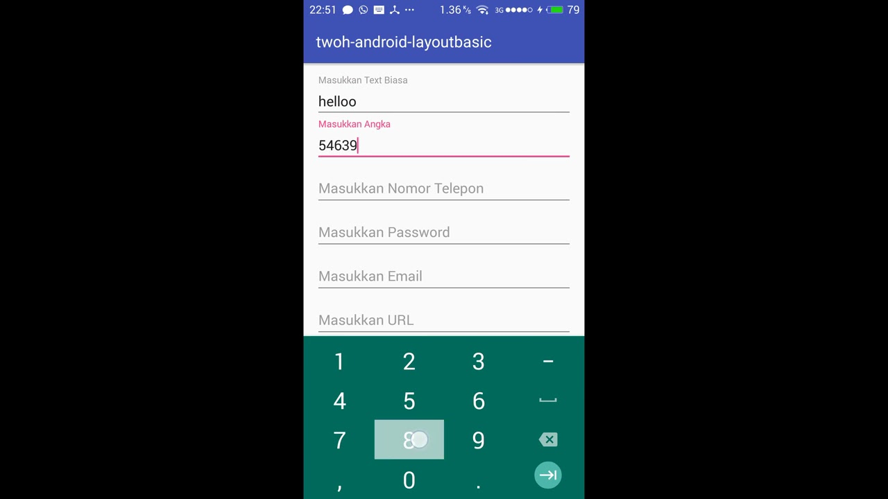 Android EditText InputType Example