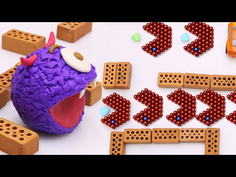 Magnetic-Balls VS Monster Games PACMAN In Stop Motion Extreme At Home (Satisfying) | Magnet Hero