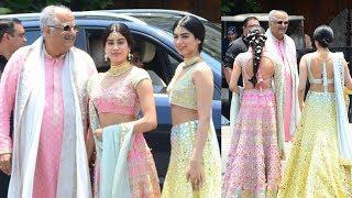 Gorgeous Jhanvi Kapoor And Khushi Kapoor With Boney Kapoor At Sonam Kapoor Wedding Ceremony