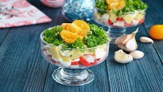 Салат крабовые палочки сыр чеснок