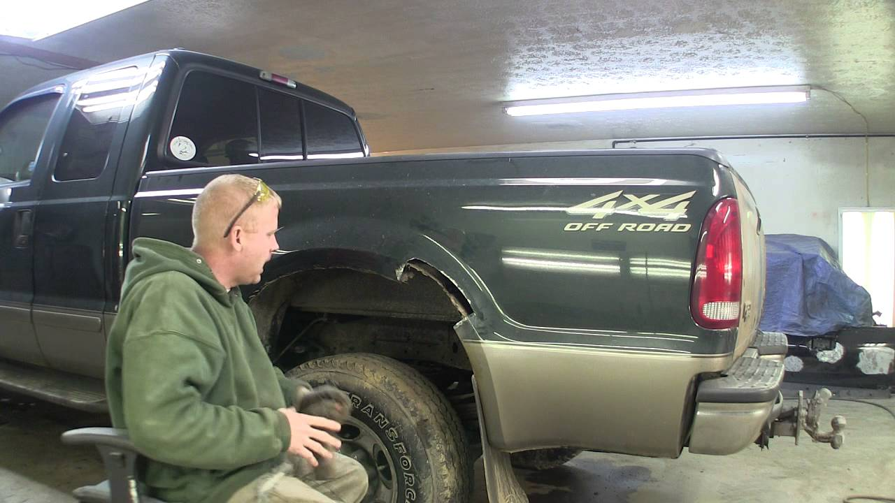 ford super duty pickup bed side repairs start of repair youtube. Black Bedroom Furniture Sets. Home Design Ideas