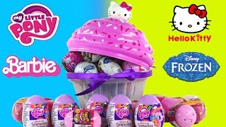 30 SURPRISE EGGS! Barbie Glitzi Globes Frozen Powerpuff Girls HelloKitty My Little Pony Toys DCTC