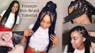 BEST TRIANGLE BOX BRAID TUTORIAL *CLOSE UP & PARTING TIPS