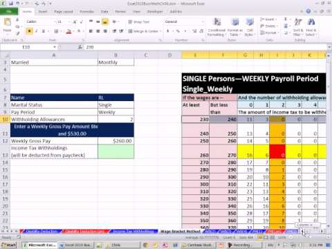 Excel 2010 Business Math 55: Federal Income Tax Deduction Wage Bracket Method