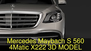 3D Model of Mercedes Maybach S 560 4Matic X222 2018 Review