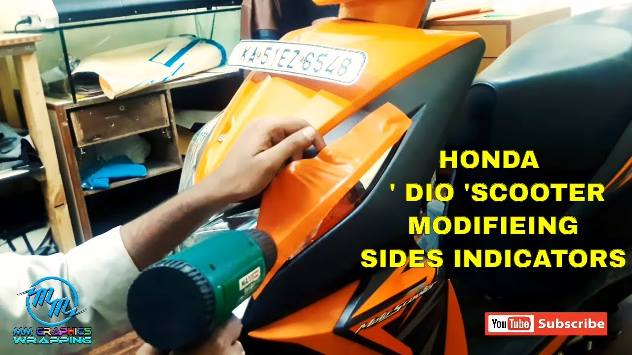 Diy orange vinyl wrap for honda dio scooter