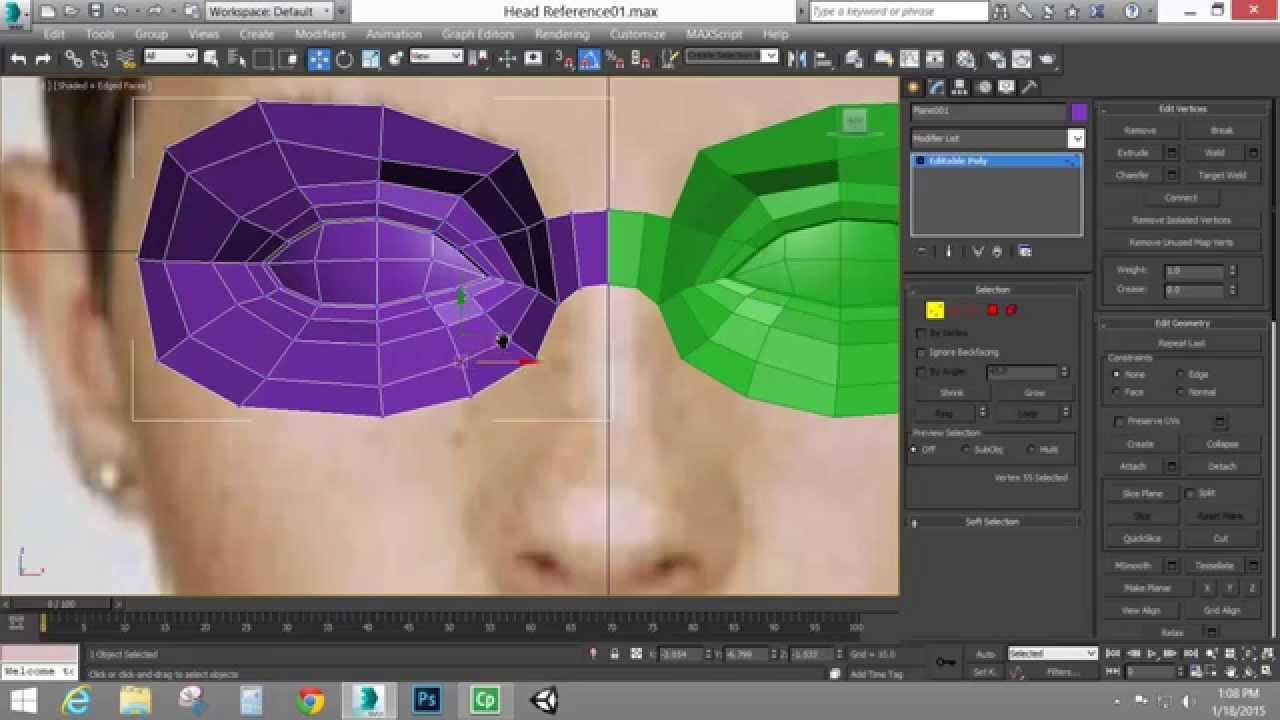 Edge modeling a head part 1 autodesk 3ds max youtube for 3ds max face modeling