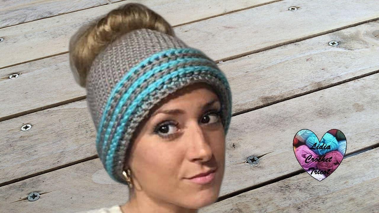 b11bb031c29 Bonnet Messy bun adulte crochet / Messy bun beanie hat adult crochet ...