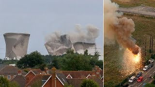 Pylon explodes into 'fireball' seconds after Didcot power station demolition