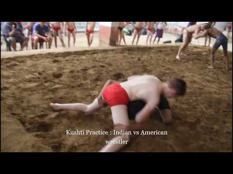 Kushti  Indian and American wrestlers practice Large