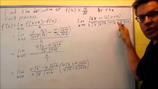 finding a derivative using the limit process for a rational square root