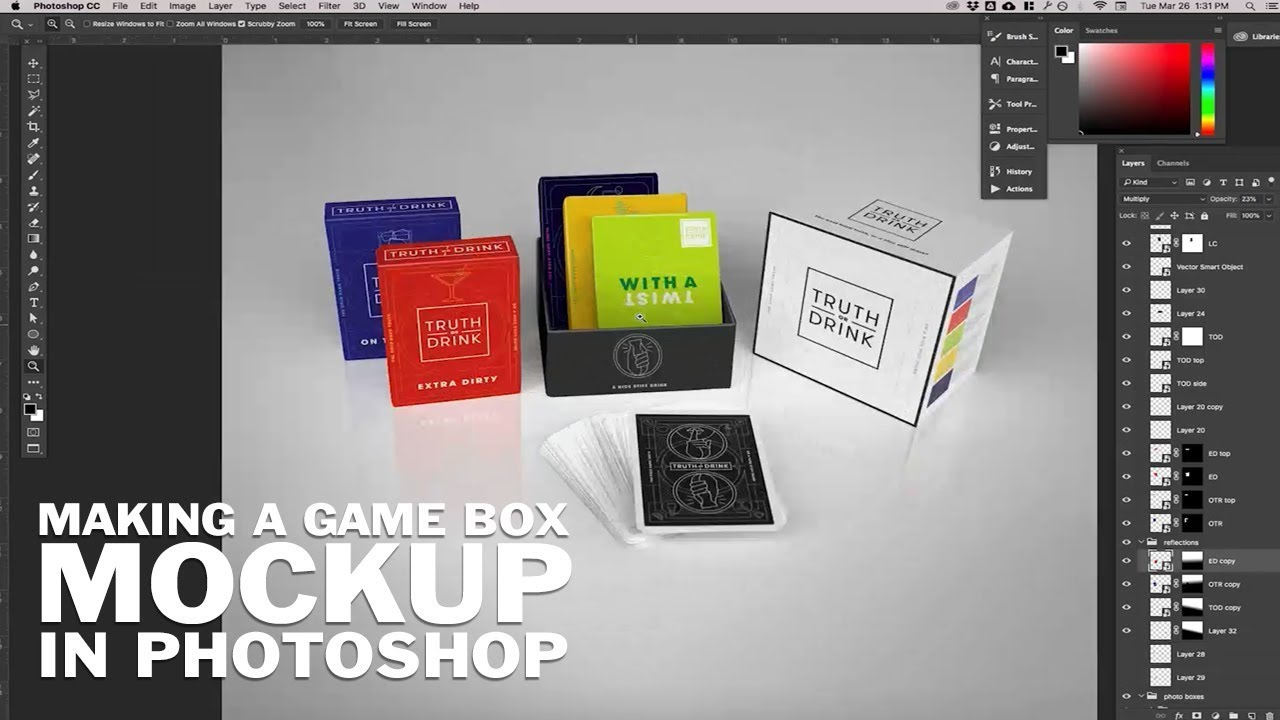 Making A Card Game Box Mockup In Photoshop Cc Youtube