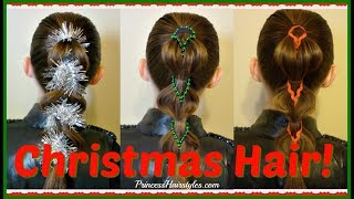 Decorated Pull Through Braids! 3 Holiday Hairstyle Ideas