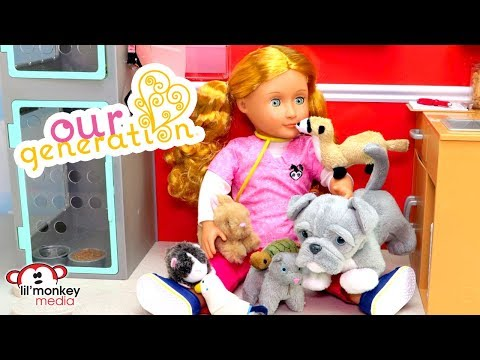 Our Generation Doll Vet Clinic Collection! 18 inch OG Doll, Vet Clinic , 7 Pets Unboxing & Play!