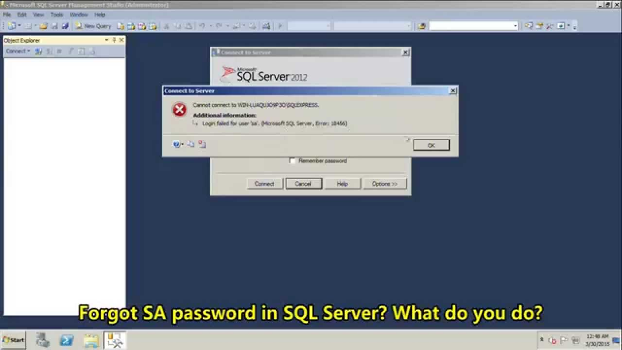 how to get sa password in sql server 2014