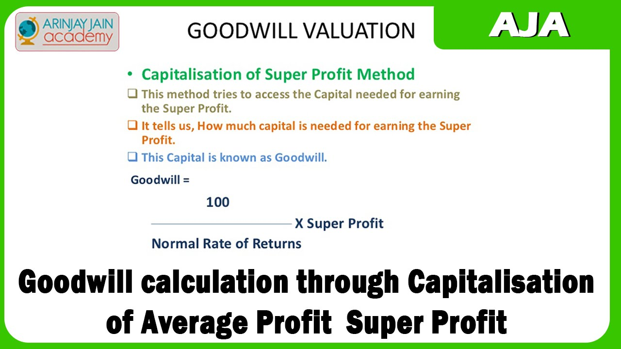 goodwill calculation through capitalisation of average profit super profit youtube. Black Bedroom Furniture Sets. Home Design Ideas