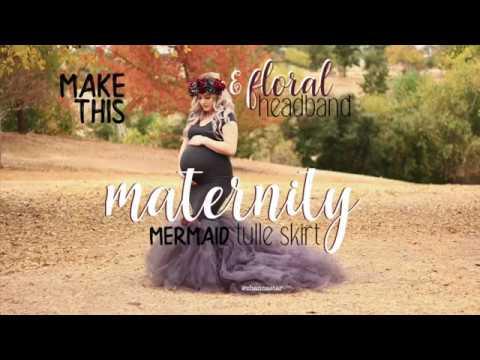 810216b658 Tutorial DIY Tulle Mermaid Maternity Dress   Floral Heaband - YouTube