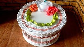 How to make newspaper baskets Weaving newspapers box  periódicos de tejer Tejiendo periódicos caja