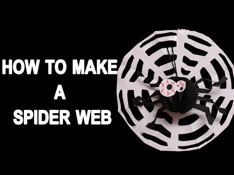 How To Make a Spider Web - Easy Paper Spider DIY Decor - DIY CRAFTS