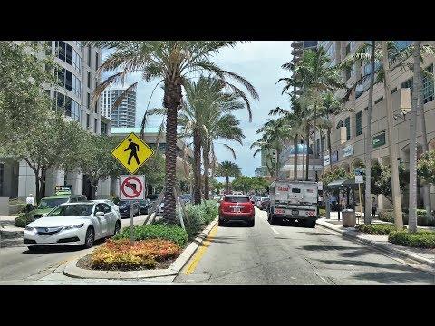 Driving Downtown - Las Olas Blvd - Fort Lauderdale Florida USA