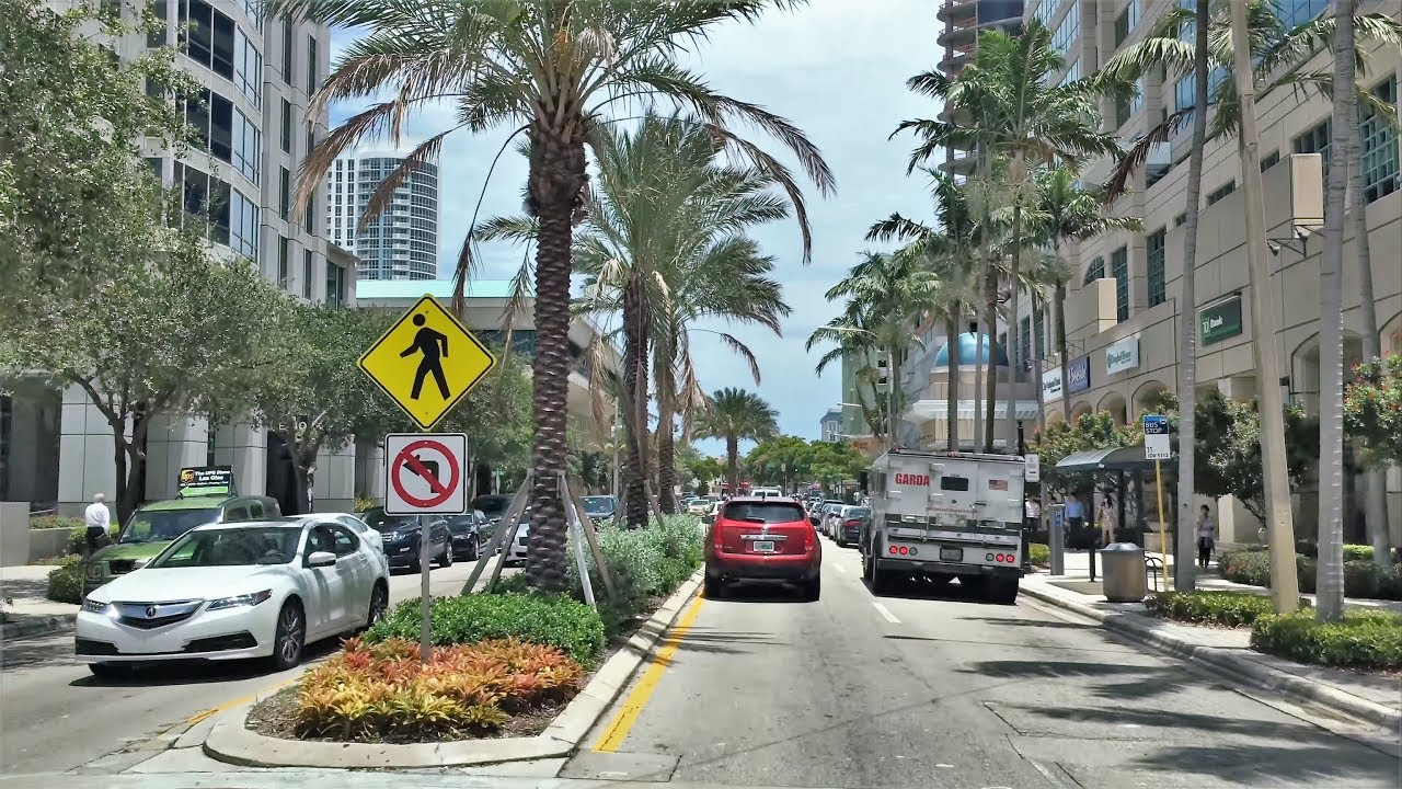 Driving Downtown - Fort Lauderdale's Main Street 4K - USA