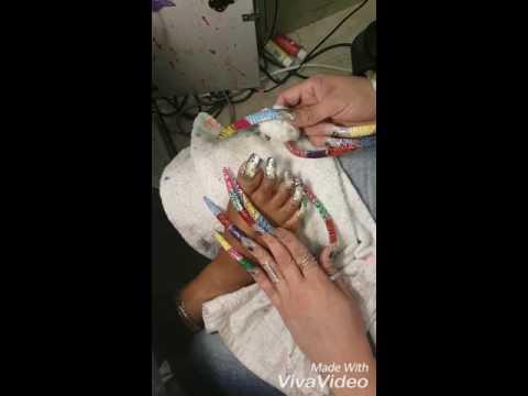 Taking of nail Polish off long toe nails