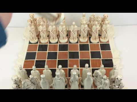 """Large medieval ceramic chess pieces and board set - 5 3/4"""" King!"""