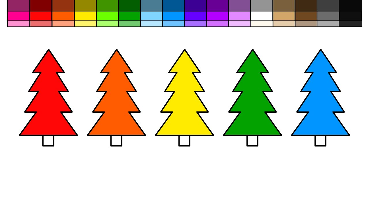 Learn Colors For Kids And Color Evergreen Trees Coloring Pages