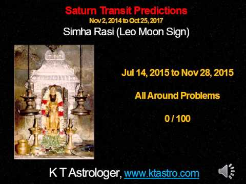 Simha Rasi (Leo) Sani Peyarchi Palangal Nov 2014 to Oct 2017 Saturn Transit Predictions