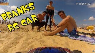BEACH & RC CAR - PRANKS - VIDEO GAG FPV - TRAXXAS  + GOPRO