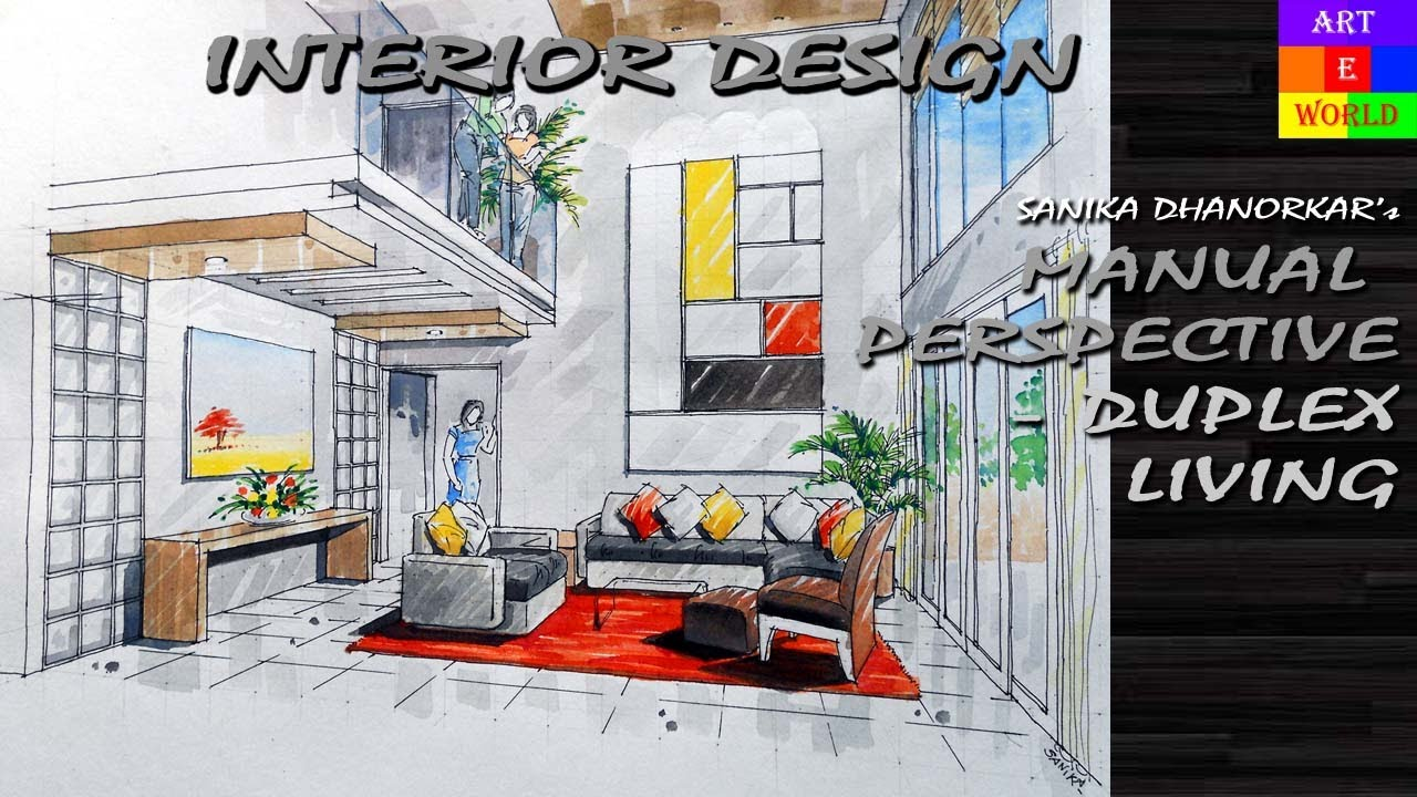22 Manual Rendering 2 Point Interior Perspective